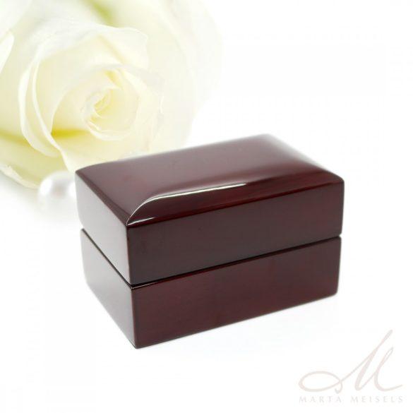 Luxus minőségű, valódi mahagóni fából készült karikagyűrű doboz DKG-WP-F018