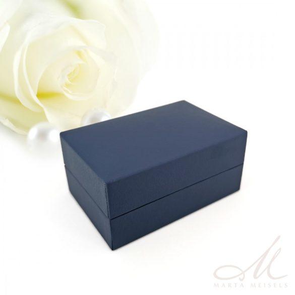 Exkluzív minőségű sötétkék matt műbőr karikagyűrű doboz DKG-WP-F237B