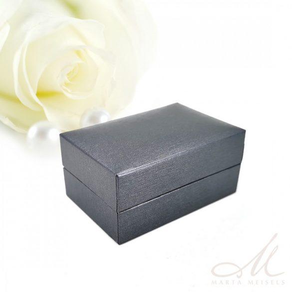 Exkluzív minőségű ezüstszürke műbőr karikagyűrű doboz DKG-WP-F237G