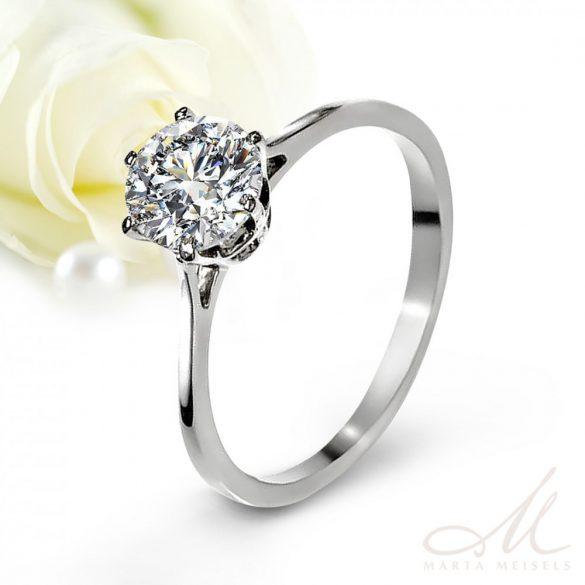Klasszikus, Tiffany stílusú nemesacél eljegyzési gyűrű cirkónia kristállyal EG-AM-N025