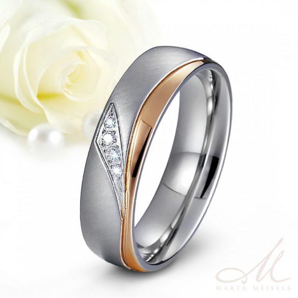 Rozé arany hullám mintával és kristályokkal díszített Női nemesacél karikagyűrű KG-MX-N036W