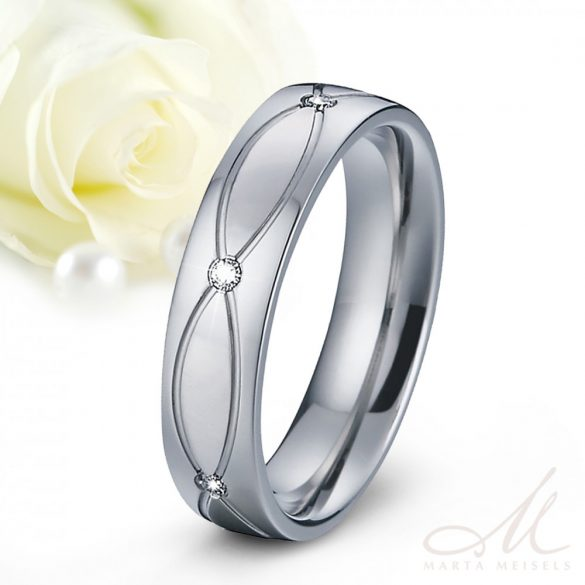 Elegáns nemesacél Női karikagyűrű végtelen mintával és kristályokkal díszítve KG-MX-N1504W
