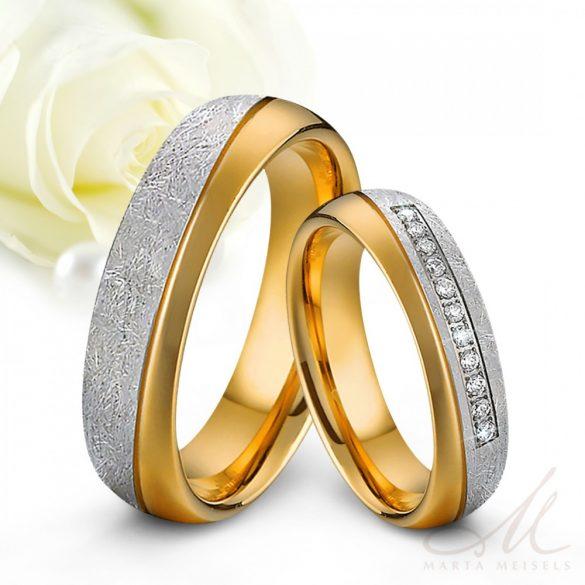 Szálcsiszolt felületű Férfi nemesacél karikagyűrű sárga arany bevonattal KG-MX-N16011M