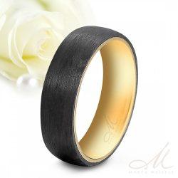 High-tech fekete karbon és nemesacél kombinációjú Férfi karikagyűrű arany bevonattal KG-TG-N011M