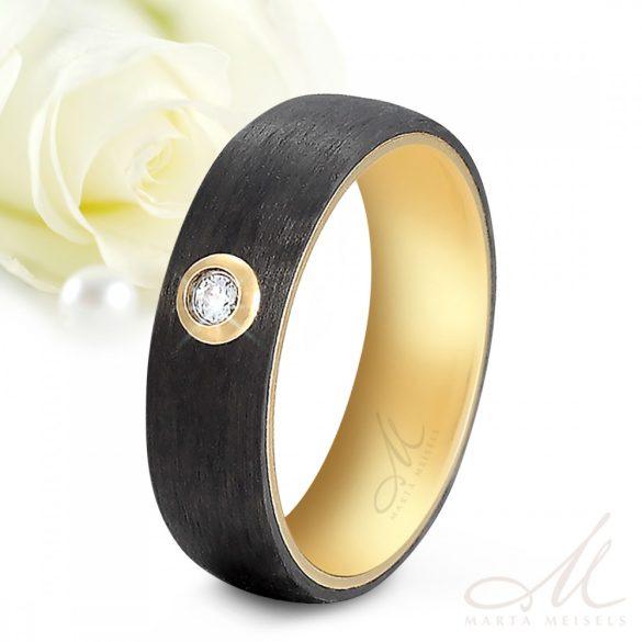 High-tech fekete karbon és nemesacél kombinációjú Női karikagyűrű arany bevonattal és kristállyal díszítve KG-TG-N011W
