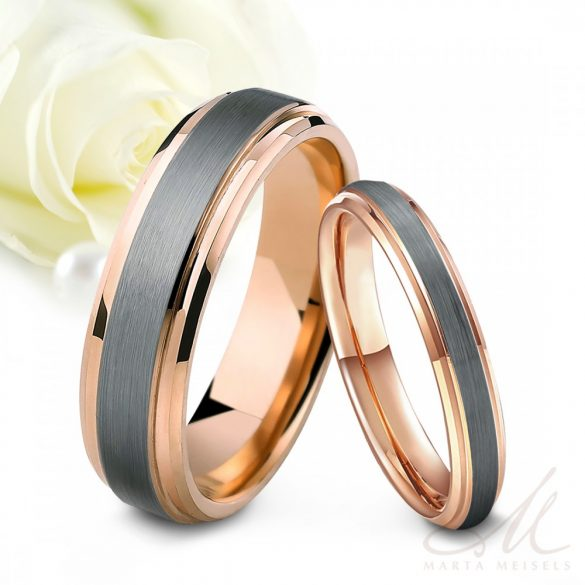 Kétszínű, rozé arannyal bevont modern stílusú tungsten karikagyűrű KG-TG-V011