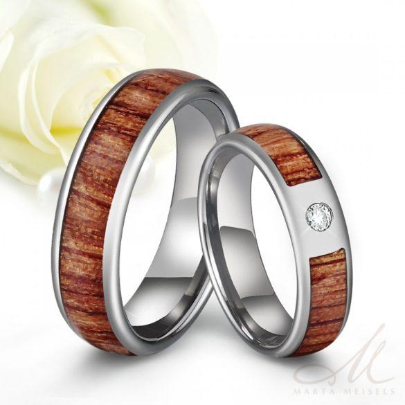 Valódi Koa fa berakásos tungsten Női karikagyűrű cirkónia kristállyal KG-TG-V582W