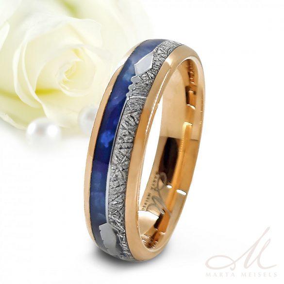 Exkluzív lapis lazuli és meteorit berakással díszített tungsten karikagyűrű rozé arany bevonattal KG-WT-V1398
