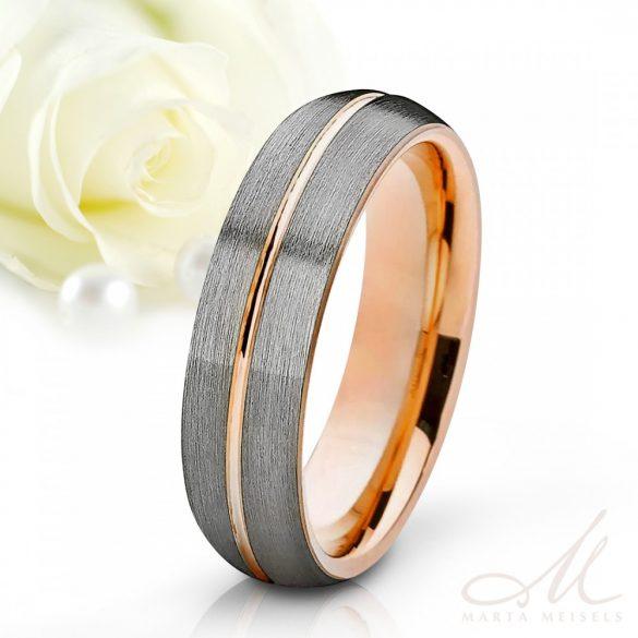 Elegáns stílusú matt tungsten karikagyűrű rozé arany csíkkal díszítve KG-WT-V500