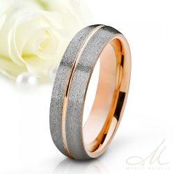Elegáns stílusú csillámos felületű tungsten karikagyűrű rozé arany csíkkal díszítve KG-WT-V500GB