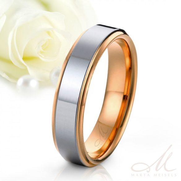 Modern stílusú fényes felületű tungsten karikagyűrű rozé arany széllel díszítve KG-WT-V553